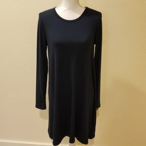 Gap Long Sleeve Softspun Swing Dress, Navy, Sz M